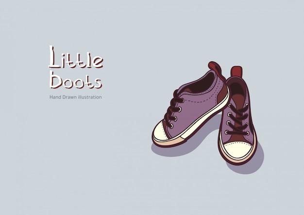 Kinder lila stiefel. schmutzskizze mit turnschuhen