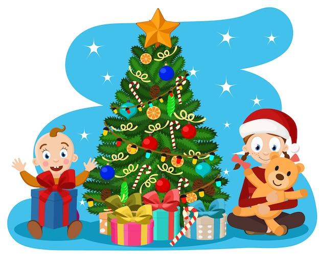 Kinder machen die geschenke in der nähe des weihnachtsbaumes aus. neujahr
