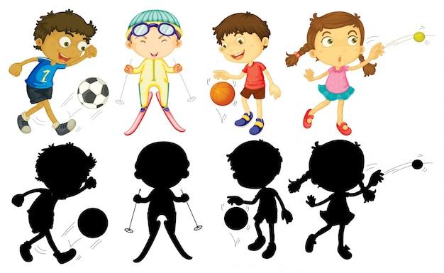Kinder machen verschiedene sportarten