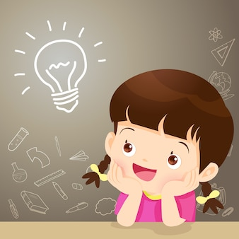 Kinder mädchen denken idee