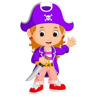 Kinder mädchen piraten cartoon
