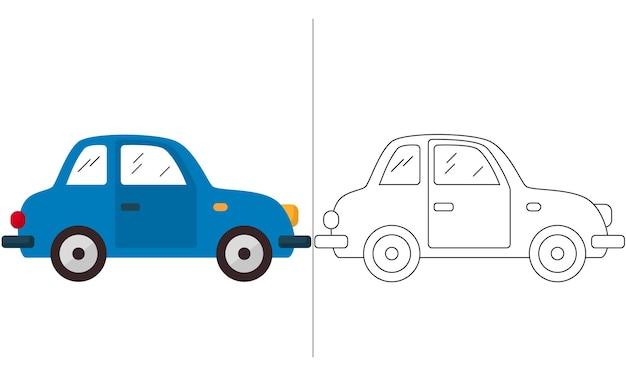 Kinder malbuch illustration classic blue mini car