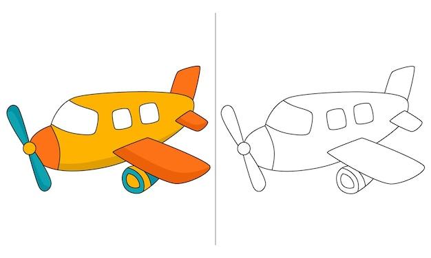 Kinder malbuch illustration gelb privatjet