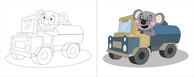Kinder malbuch illustration koala fahren tankwagen