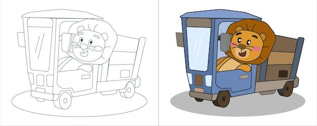 Kinder-malbuch illustration löwe, der einen lastwagen fährt Premium Vektoren