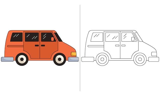Kinder malbuch illustration orange minivan family