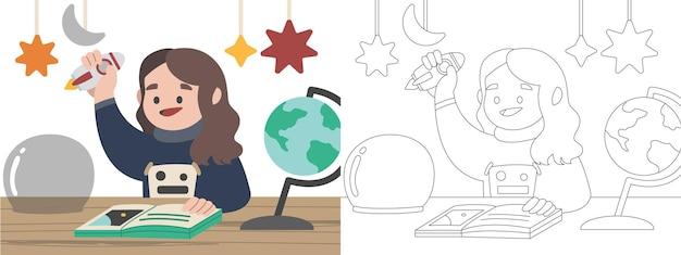 Kinder malbuch illustration sonne und sonnensystem