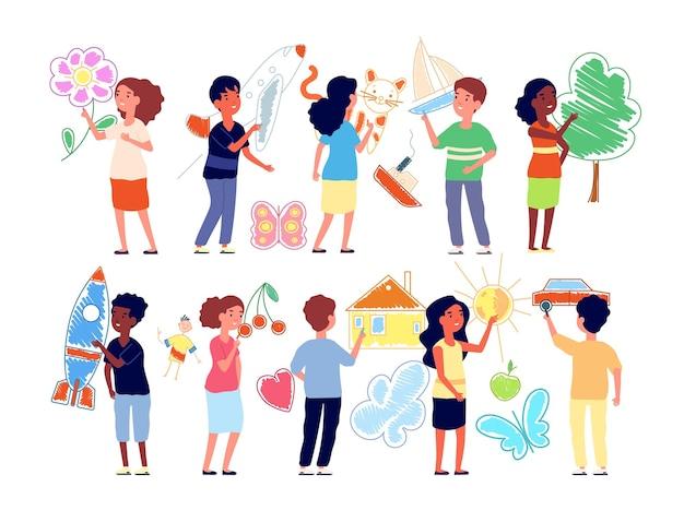 Kinder malen an der wand. kinder im vorschulalter, die kreide zeichnen. lustiges flaches kind des kindergartens, kreatives jungenmädchen spielen zusammen vektorillustration. jungen- und mädchenzeichnung, kinderkunstfarbe, malermalerei