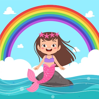 Kinder meerjungfrau regenbogen