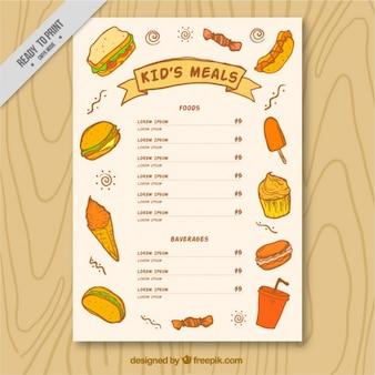 Kinder-menü broschüre mit skizzen von köstlichen speisen