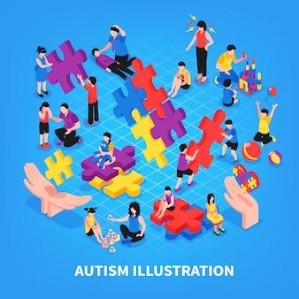 Kinder mit autismus während der spielkommunikation mit den lernenden eltern und der freundschaft auf blauer isometrischer illustration