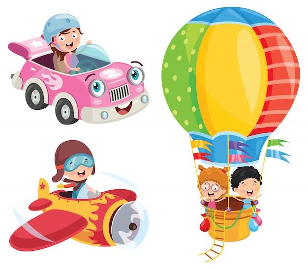 Kinder mit auto und flugzeug und heißluftballon