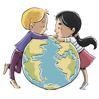Kinder mit dem planeten erde
