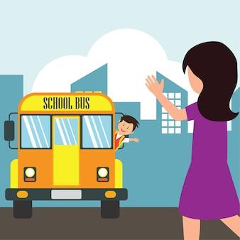 Kinder mit der uniform, die zur schule fährt, die gelben schulbus fährt