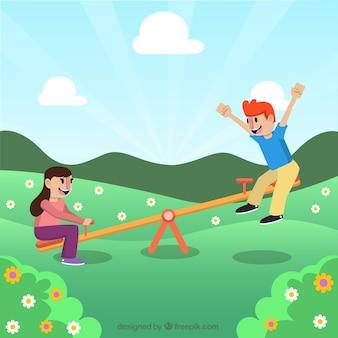 Kinder mit einer schaukel auf einem feld spielen