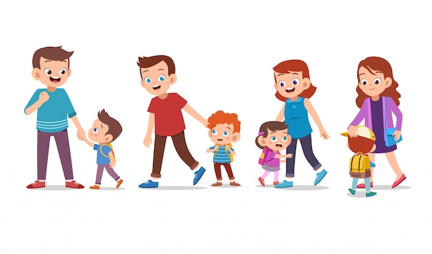 Kinder mit eltern-set-bundle