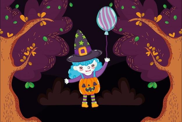 Kinder mit halloween-kostüm