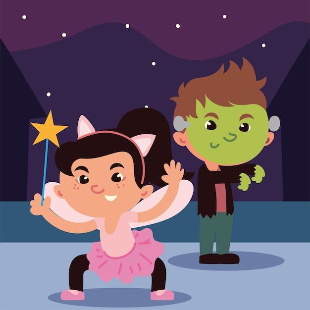 Kinder mit halloween-kostümen