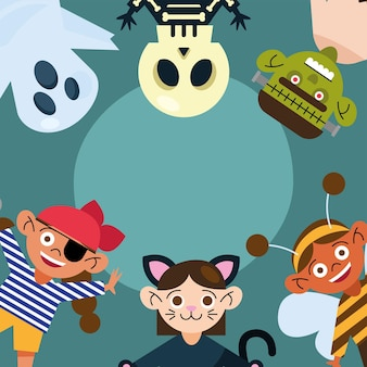 Kinder mit halloween-stoffbanner