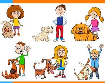 Kinder mit Hunde-Cartoon-Set