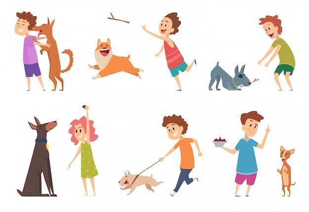 Kinder mit hunden. glückliche kinder spielen umarmung ihrer lustigen haustiere cartoon hündchen haustiere