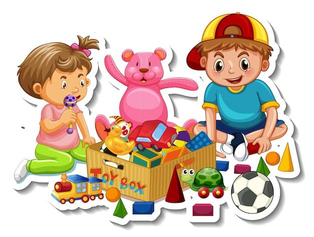 Kinder mit ihren spielsachen auf weißem hintergrund