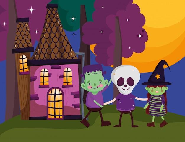 Kinder mit kostüm halloween