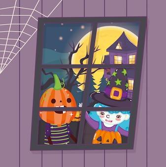 Kinder mit kostümhalloween-bild