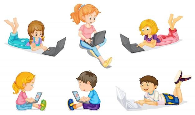 Kinder mit laptop