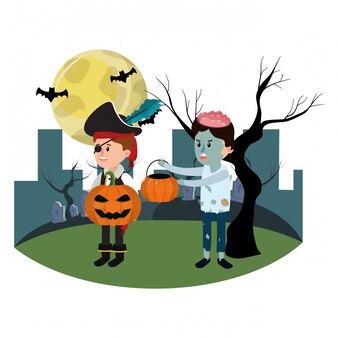 Kinder mit lustigen kostümen und schlechtem kürbis