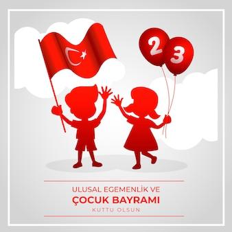 Kinder mit nationaler souveränitätsflagge und luftballons