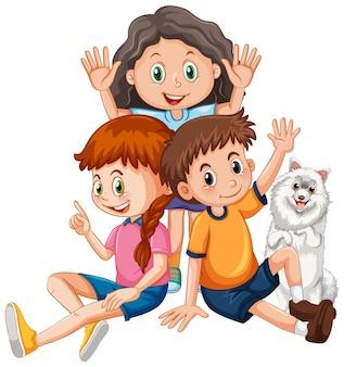 Kinder mit niedlicher hundezeichentrickfigur