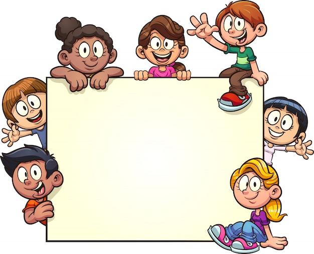 Kinder mit plakat und exemplar