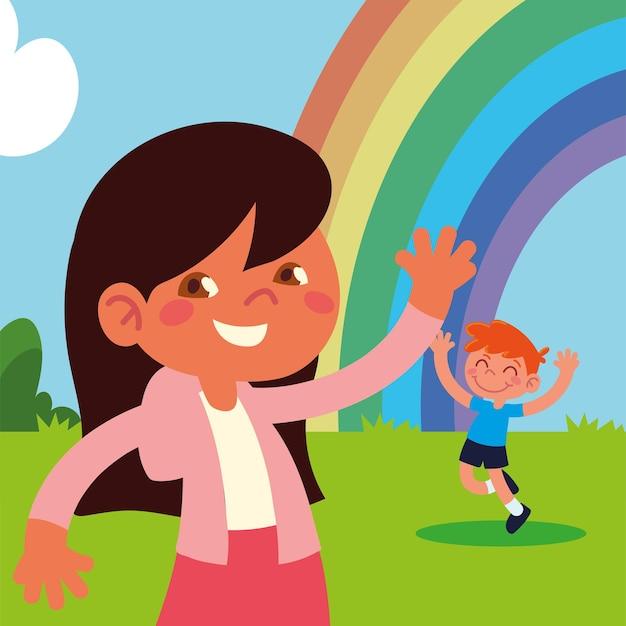 Kinder mit regenbogen feiern