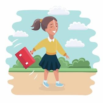 Kinder mit rucksäcken machen eine wanderung im freien. mädchen und zwei jungen, die zusammen auf sommerabenteuer oder expedition gehen. moderne illustration clipart.