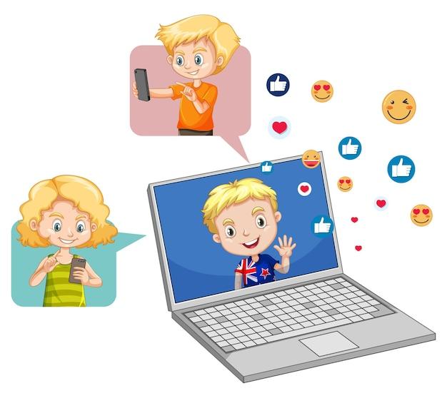 Kinder mit social-media-elementen auf weiß