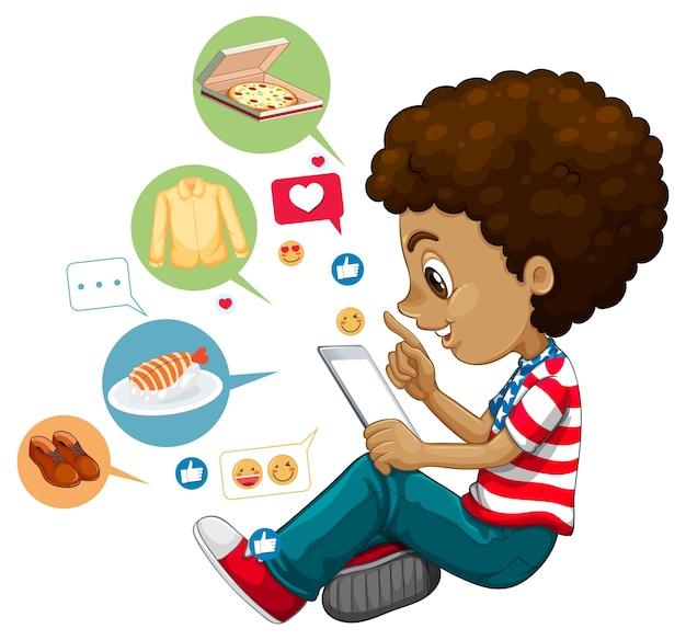 Kinder mit sozialen medienelementen auf weißem hintergrund