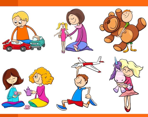 Kinder mit spielzeug cartoon-set