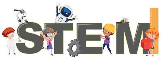 Kinder mit stem-logo
