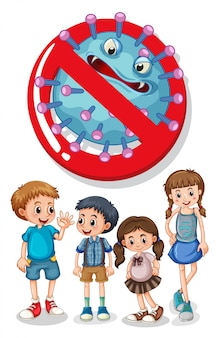 Kinder mit stop-coronavirus-zeichen