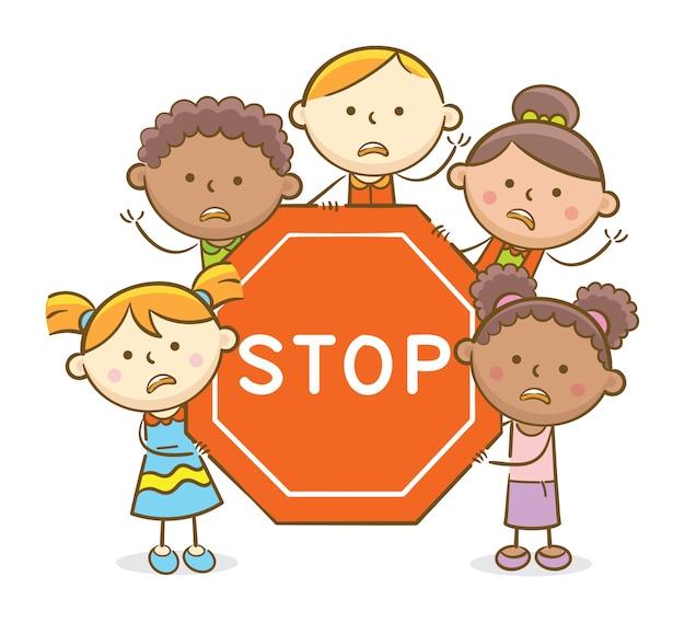 Kinder mit stop sign