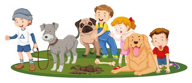 Kinder mit tieren auf isoliertem hintergrund