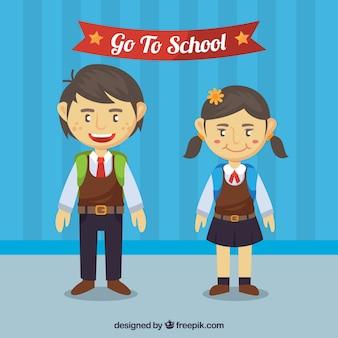 Kinder mit uniform gehen zur schule
