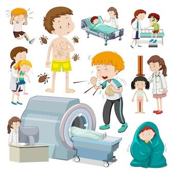 Kinder mit verschiedenen arten von krankheiten