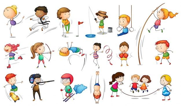 Kinder mit verschiedenen sportarten