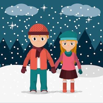 Kinder mit winterkleidung im schneewetter