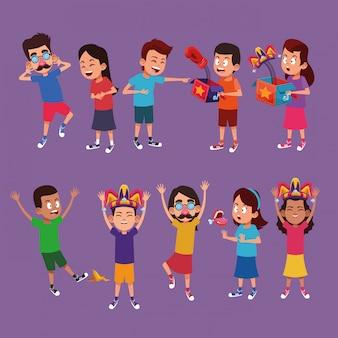 Kinder mit witzkarikaturen
