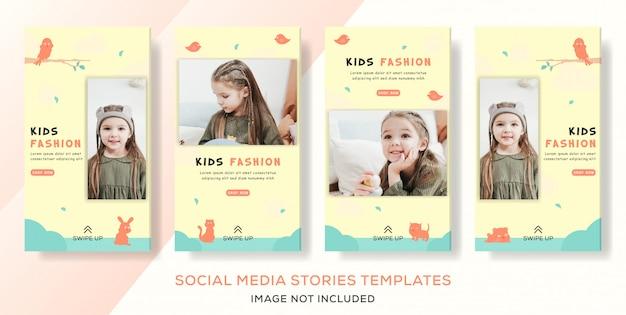 Kinder modegeschäft verkauf set banner geschichten post premium vector