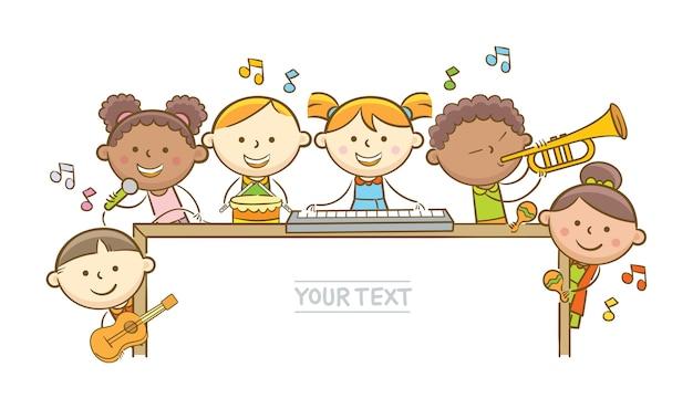 Kinder musiker und whiteboard