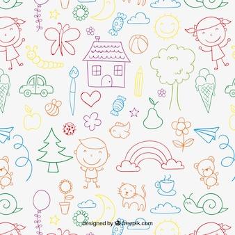 Kinder-muster in farbenfrohen stil Premium Vektoren